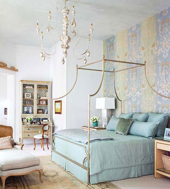 The delicately patterned wallpaper speaks for itself in this ornate bedroom. More bedroom ideas: www.bhg.com/...