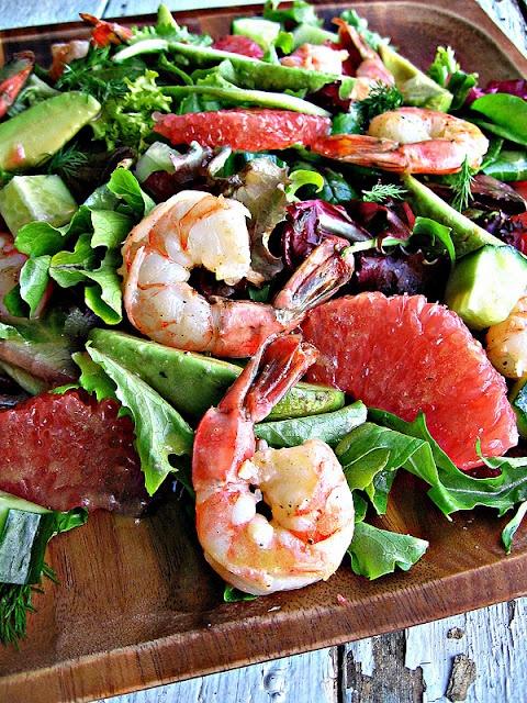Grapefruit, shrimp, and avocado salad.