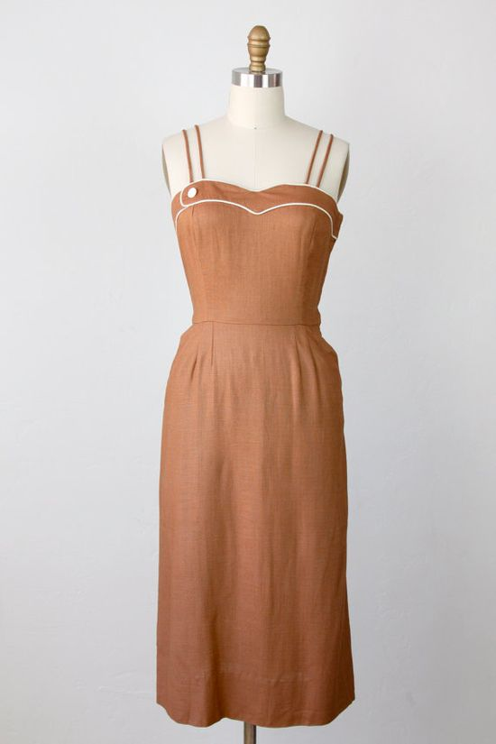 1940's Wiggle Dress Mocha Brown Rayon by salvagelife on Etsy