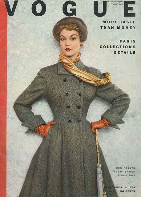 Wildly love her elegant, beautiful fitted coat. #vintage #magazine #cover #1950s #Vogue