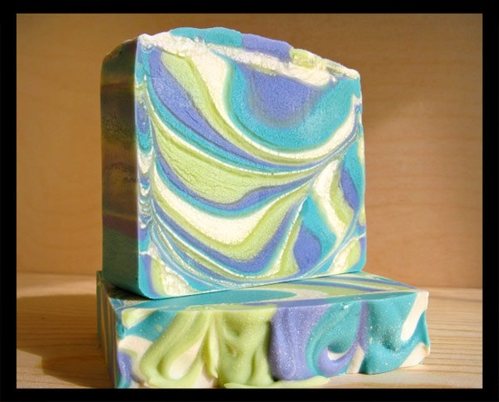 Art Deco Olive Oil Soap, with shea butter, cocoa butter, silk, lime green aqua lavender swirled soap. $7.00, via Etsy.