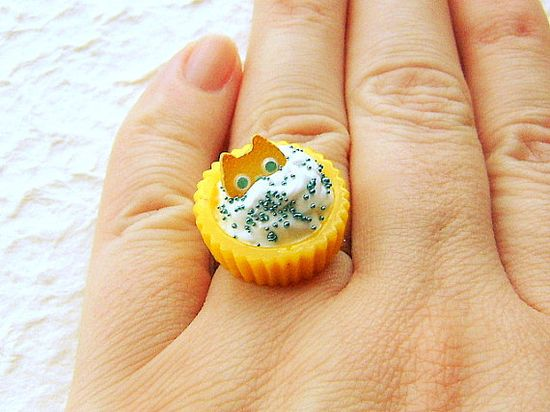 Cute Cat Ring Miniature Food Jewelry Cat Cookie by SouZouCreations