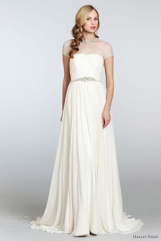 hayley paige spring 2013 anya sheath wedding dress draped tulle crystal collar neckline hp6300