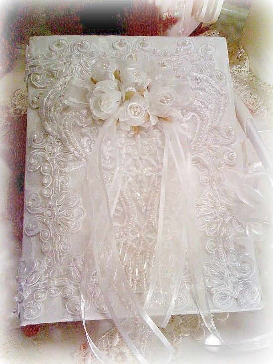 Romantic Victorian Bridal Collection Guest Book With Pen-Bridal,Victorian,Vintage,Antique,Pearls,Romance,Romantic,Elegant,
