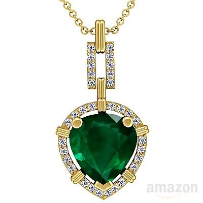 18K Yellow Gold Pear Cut Emerald And Round Diamond Pendant