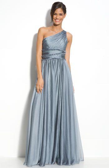 Monique Lhuillier Bridesmaid Chiffon One Shoulder Gown