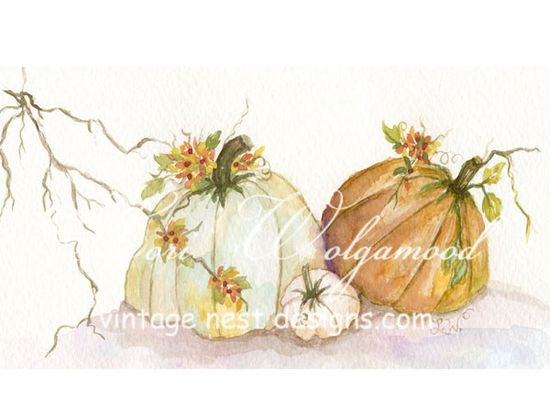 Rugged Pumpkins - Fall Autumn Watercolor Print - Vintage Nest Designs, Creative Handmade and Hand Painted Designs