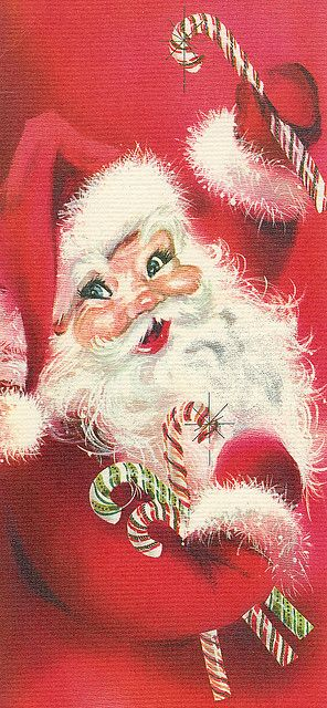 A cheerful. vintage candy cane wielding Santa.