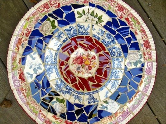 Vintage China Lazy Susan  Pique Assiette Mosaic by laurawinzeler, $160.00