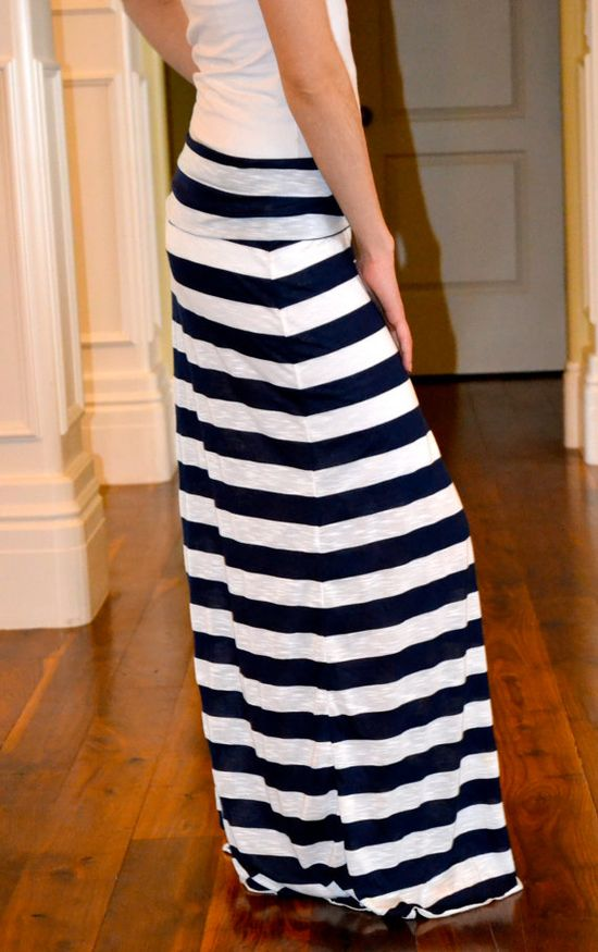 Navy and White Striped Maxi Skirt - PERFECTION.