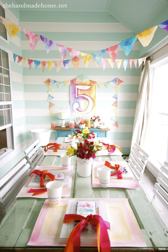 Watercolor Birthday Party, from @Ashley Walters Mills {the handmade home}