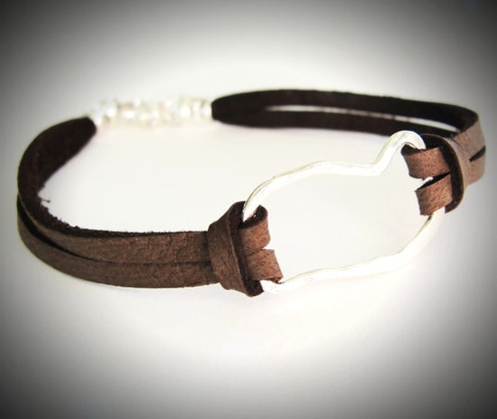 Hammered Sterling Link on Leather bracelet. $24 from JewelryByMaeBee on Etsy.