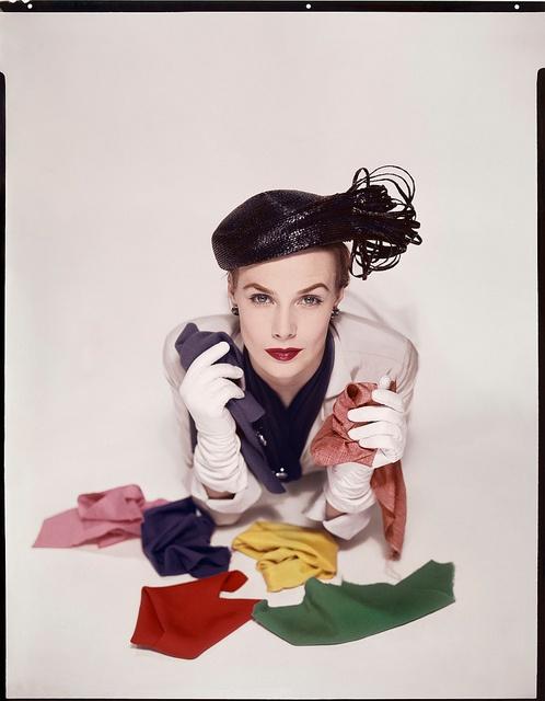 Vogue (January 1951). #vintage #fashion #1950s #rainbow #hat