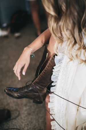 lace-up boots for the bride // photo by JustAlexPhotograp...