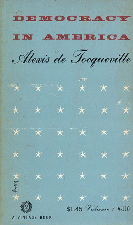 Vintage book cover Democracy in America.