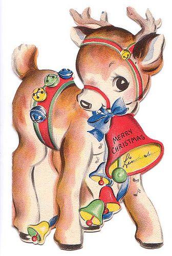 Vintage Christmas Greeting Card w/ Reindeer   #christmas #card #illustration #vintage #retro #reindeer #kitsch