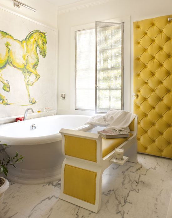 Pops of marigold in master bathroom...
