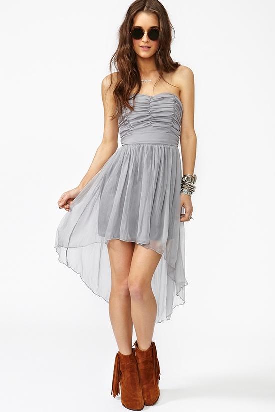 Tallulah Chiffon Dress - Silver