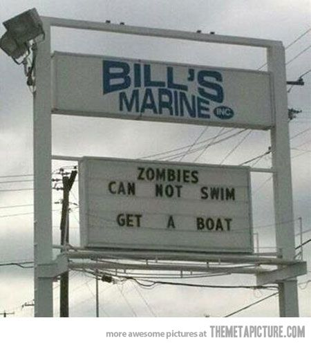 Zombies boat rental sign