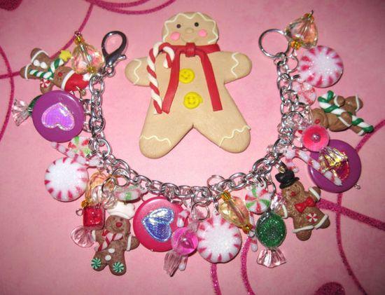 Christmas Charm Bracelet Sugary Sweet Gingerbread Cookies by Jynxx, $34.00