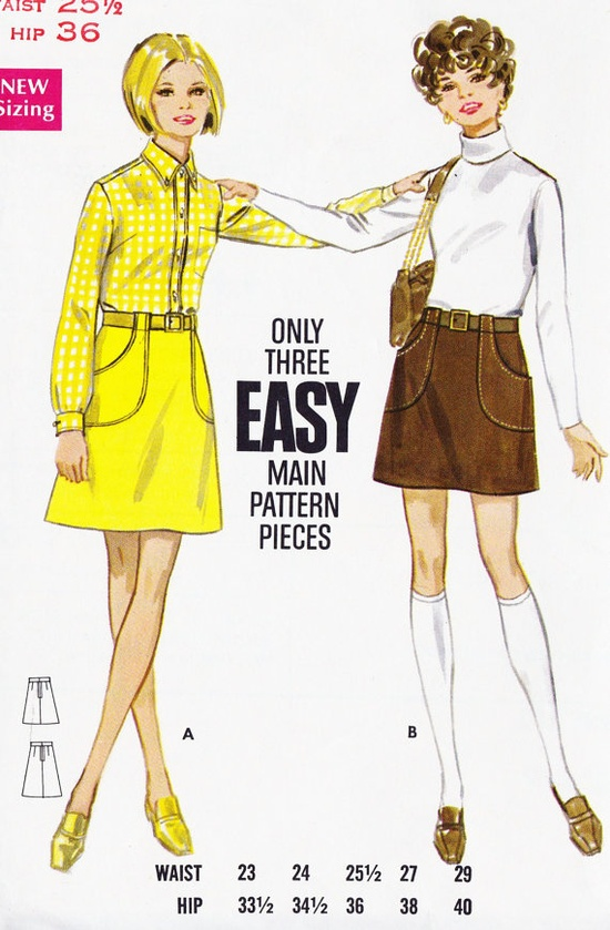 1960s Misses A Line Skirt.  Pockets!