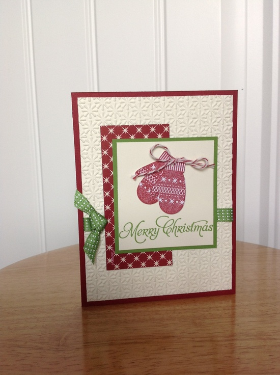 Stampin Up Christmas card winter mitten by treehouse05 on Etsy