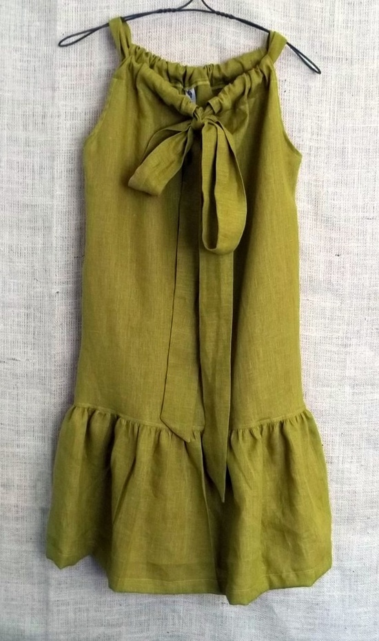 Linen ruffle bow dress
