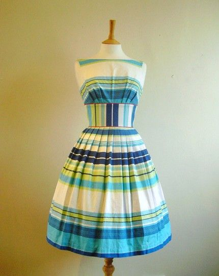 Blue and White Striped Summer Dress: Adorable!