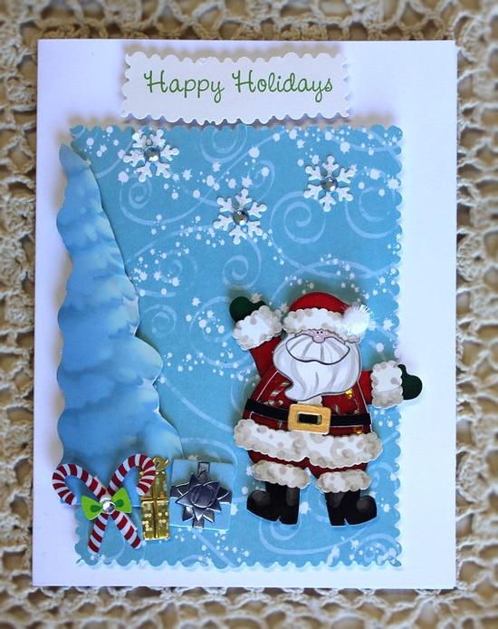 Handmade Christmas Card with Santa Clause