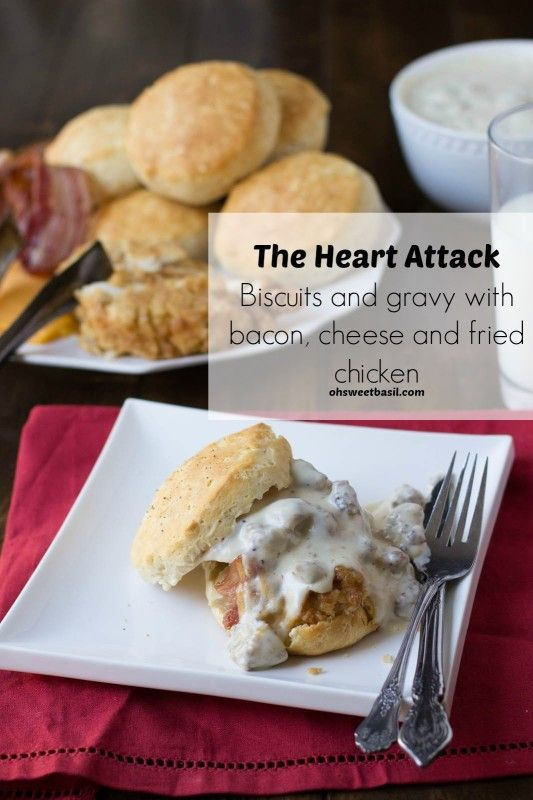 jimmy dean sausage gravy over biscuits, bacon, cheese and fried chicken. HOLY MOLY.  ohsweetbasil.com