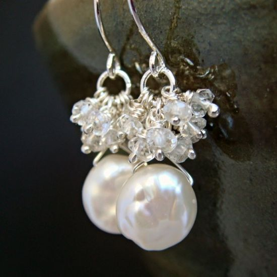 Keishi Pearl With White Topaz Clusters Handmade Earrings $36