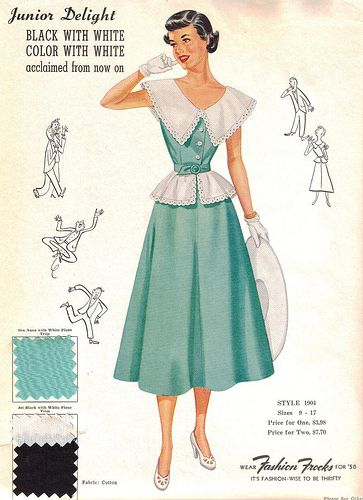 "Fashion Frocks ""Junior Delight"" 1950    Sales sample card for Style 1904, from the 1950 junior-sized collection."