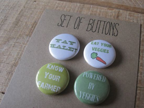 Vegetarian Buttons. Healthy Eating Buttons.