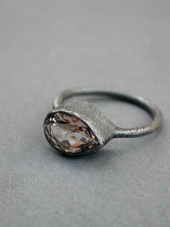 morganite wedding ring modern rustic eclectic raw organic oxidized sterling jewelry metalsmith modern wedding pear shaped