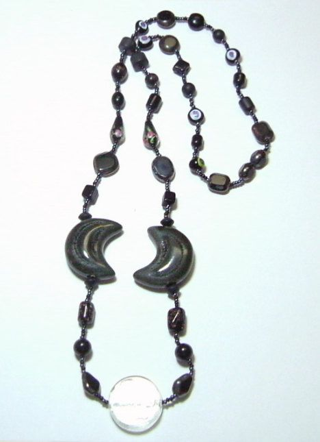 Gray Porcelain Crescent Moon Necklace by Designs by Tamiza, tzteja on Etsy, $20.00  #jewelry, #necklace, #beaded, #designsbytamiza, #noclasp, #handmade, #ooak, #crescentmoon, #celestialjewelry, #moonnecklace, #porcelain