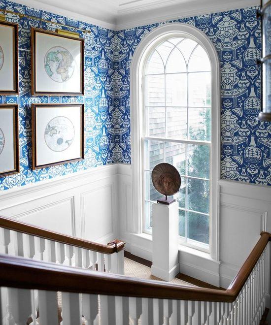 blue + white wallpaper & wainscoting