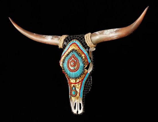 RESERVED  for Katina Cow Skull Home Decor Longhorn by ReneGibson, $2500.00