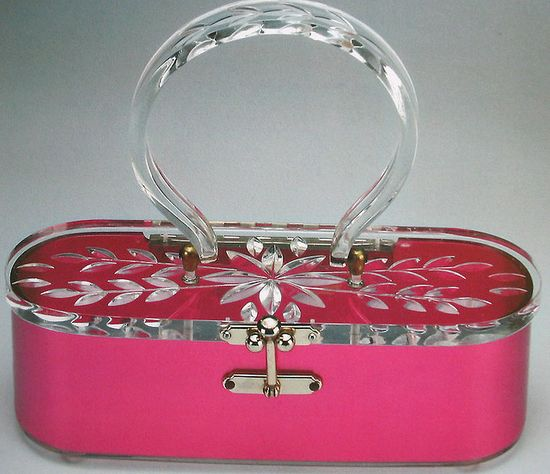 1950s bright pink Lucite purse.