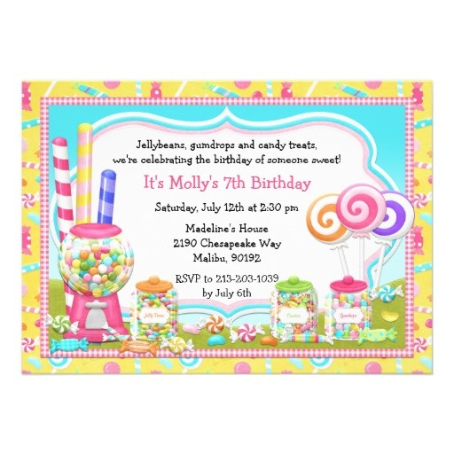 Candy Birthday Party Invitation $2.20