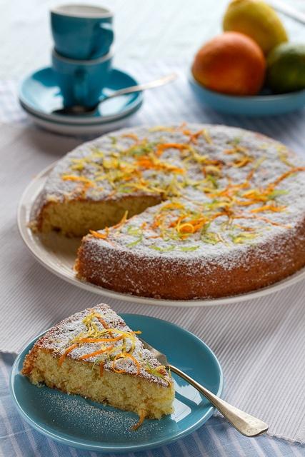 Delightfully citrus packed Lemon, Orange, Lime and Olive Oil Cake. #cake #baking #citrus #summer #orange #lemon #lime #baking #food