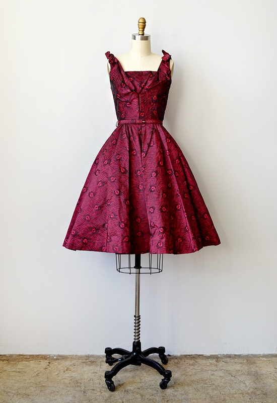 vintage 1950s red bombshell party dress