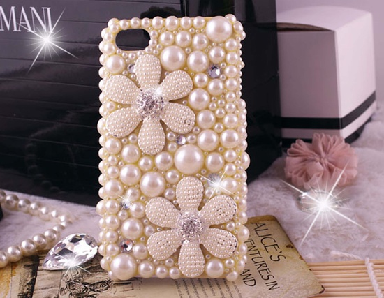 iPhone 5 case, iphone 5 bling case, iphone 4 case, pearl iphone 4 bling case, bling iphone 5 case pearls cute flowers. $22.98, via Etsy.