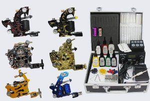 Professional Tattoo Kit 6 Handmade Machine Gun Digital Power Supply Needles 7 color 1/2 oz Inks, OTW-KK05 by 1TattooWorld. $89.99. Digital Power Supply. 7 popular color ink 1/2 oz (15ml). Stainless steel grip. 6 pieces professional hand made Tattoo machines. Brand New Top Quality Customized Tattoo Kit. Package Included: 6 x Premium Handmade tattoo machine 1 x High Quality Digital Power Supply 7 x Color ink 1/5 oz (15ml) (TOMAT0 RED, TSUNAM BLUE, DEEP YELLOW,...
