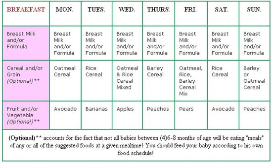 (4)6-8 months Baby Menus - Baby Menus and Feeding Schedule for Baby of 4, 6 and Infants 8 months old for Solid Foods - Baby Food Recipes too