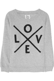 ZOE KARSSEN//Love printed cotton-blend sweater