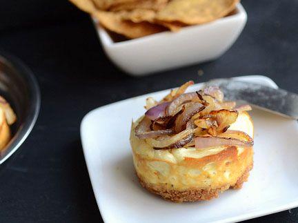 Savory onion cheesecakes