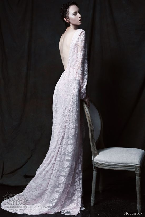 houghton bride 2013 angelique pink lace wedding dress open back