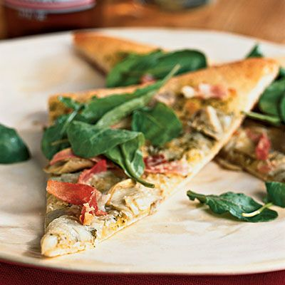 Artichoke and Arugula Pizza with Prosciutto Recipe from Cooking Light