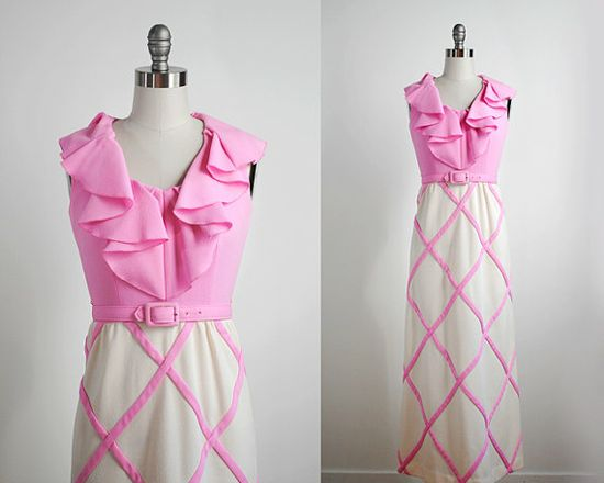 1960's vintage pink dress 60's ruffle dress maxi by stickylipgloss, $50.00