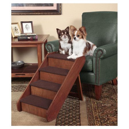 PupStep Pet Stairs - Foldable wood pet stairs in walnut.